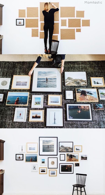 how to assemble a wall of paintings
